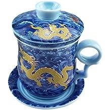 ufengke® Azul Dragón Porcelana Blanca Y Translúcida Cerámico Chino Taza De Té Con Tapa Y Platillo