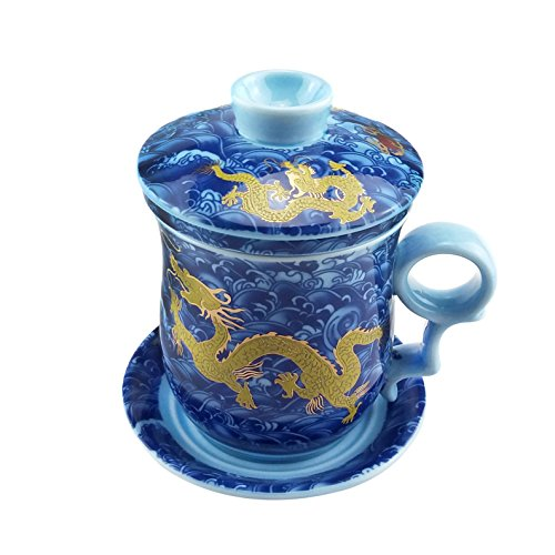 Gelber Drache Chinesische Tee Tassen, Blaue Und Weiße Porzellan Handgemachte Tee Becher Mit Filter, Deckel Und Untertasse, Für Geschenk Und Haus, Büro 300Ml (Blau China Tasse Und Untertasse)