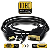 Câble adaptateur VGA vers HDMI 1,8m/1.8m VGA vers HDMI 1080p HD Audio TV AV HDTV Video Converter avec câble audio 3,5mm et câble d'alimentation USB pour ordinateur de bureau pour ordinateur portable Vidéoprojecteur...