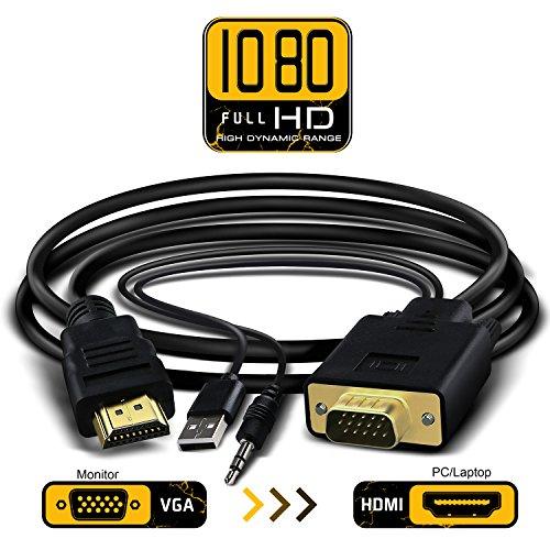 Jl Auto Subwoofer (VGA zu HDMI Adapter-Kabel 6FT/1,8m VGA zu HDMI 1080P HD TV AV HDTV Video Converter Kordel, mit 3,5mm Audio Kabel Audio und USB Power Kabel für PC Computer Desktop Laptop Beamer)