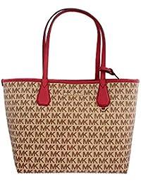 b2379bcdc613 Michael Kors Candy Large Signature PVC Reversible Tote Bag (4338257846,  Beige/ Ebony/