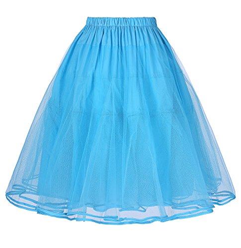 Belle Poque 50er Jahre Kleid Vintage Retro Petticoat Reifrock Unterrock Petticoat Blau