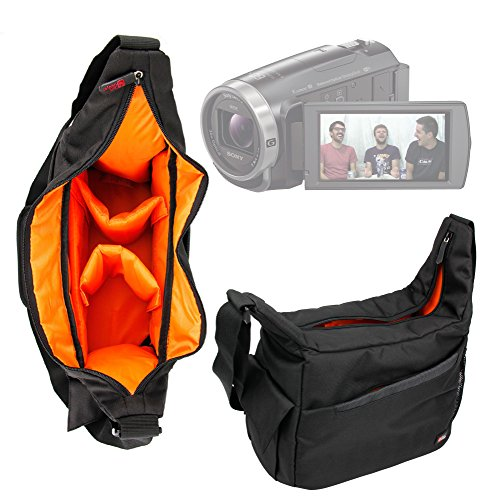 duragadget-premium-quality-shoulder-sling-bag-in-black-orange-for-new-sony-fdr-ax53-4k-handycam-with