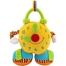 Happy Cherry Sonajero Peluche con Sonidos Muñeco Forma de Despertador Rattles con Mordedor Espejo Multifunción Educativo Preescolar Juguete Juego para Bebés Recién Nacidos Niñas Niños