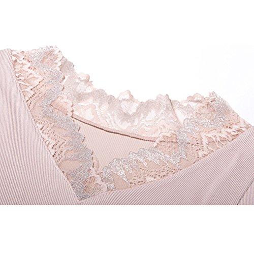 Zhuhaitf Womens Lace V-neck Cuff Thermal Top & Bottom Long Pants Elegante Winter Base Set Blue