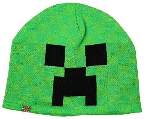 Jungen Teens Offiziell Mojang Minecraft Creeper Gesicht gestrickte Beaniemütze Retro Einheitsgröße - Grün, One Size