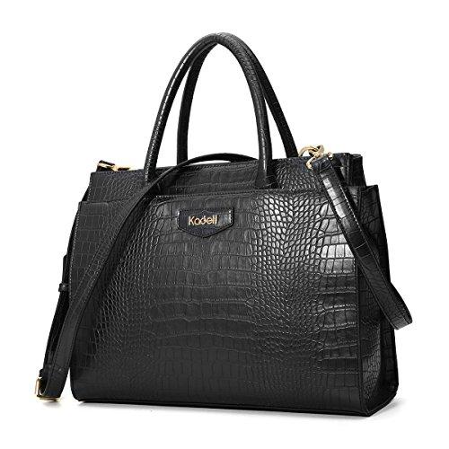 Kadell Damen Leder Designer-Handtaschen mit Krokoprägung Umhängetasche Schulranzen für Damen Schwarz (Designer-handtaschen Verkauf)