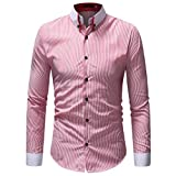 MRULIC Herren Herbst Winter Casual Striped Druck Langarm Button T-Shirt Top(Rosa,EU-52/CN-3XL)