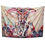 Arfbear Elefant Tapisserie, Wandbehänge rosa und lila Hippie trippy große Tischdecken Wandteppich für Schlafzimmer 59 * 78.7inches