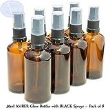 Bottiglie 50ml in vetro ambrato con diffusore spray nero - Confezione da 8