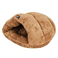 LONTG Cat Cave Bed Small Medium Dog Bed Soft Warm Plush Pet Tent Bed 2-In-1 Snuggle Cuddle Pet Bed Sleeping Bed Mat Cushion for Dogs Cats Kitten Bunny Hamster or more Small Animals 45x45x33cm