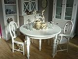 Bistrotisch DEJA Tisch rund Esstisch Landhausstil 120cm Ø weiß inkl. Erweiterung