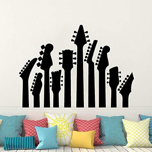 jiuyaomai Gitarre Wandtattoo Wandaufkleber Rock Metal Art Decor Vinyl Musik Guitas Wandbild Home Music Art Dekoration A weiß 79x57cm