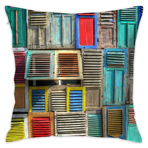 LULABE Colorful Shutters Windows House Decorative Throw Pillow Modern Square Form Stuffer for Couch Sofa Or Bed Set Cozy Home Decor Size:20 X 20 Inches/50cm x 50cm -