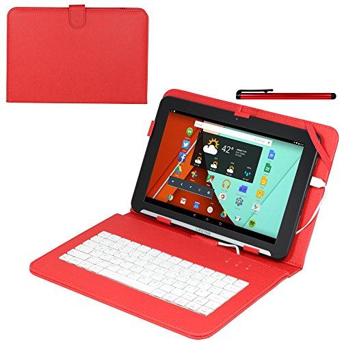 Navitech Rotes bycast Leder Stand mit deutschem Qwertz Keyboard mit Micro USB für das SurfTab Breeze 10.1 Quad / Xiron / Ventos (Bycast Leder Rotes)
