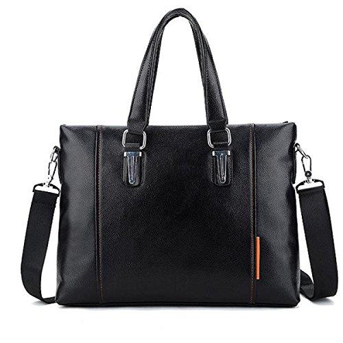 Herren Business Briefs Bequeme Männer Casual Schultertasche Handtasche Für Arbeit Büro,Black-M (Notebook 17 Deluxe-leder)