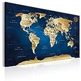 murando - Weltkarte Pinnwand 120x80 cm Bilder mit Kork Rückwand 1 teilig Vlies Leinwandbild Korktafel Fertig Aufgespannt Wandbilder XXL Kunstdrucke Landkarte Kontinent k-A-0107-p-a