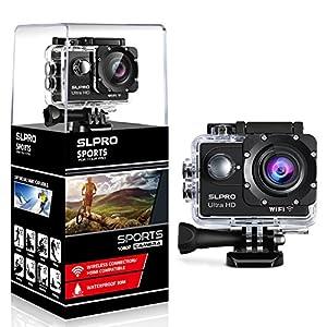 SLPRO Action Cam 1080P Full HD Unterwasser Aktion Kamera wasserdicht Helmkamera 170 ° Weitwinkel mit Zubehör Kits verbesserter Akku Sports Kamera