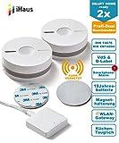 Rauchmelder 2ER Set - Funk Vernetzbar + Dual Version + WLAN Gateway + Magnethalterung + Lithium 10 Jahres Batterie von iHaus Smart Home (VdS - DIN EN 14604)