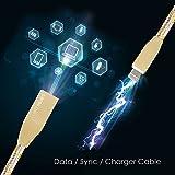 Lightning Kabel - 1m, Gold, Neustes Design - Sehr schnelles iPhone 7 Ladekabel - verstärktes USB Datenkabel mit Knickschutz - Für Apple iPhone 7 6 5, iPad, iPod - SWISS-QA Geldrückgabe Garantie - 3