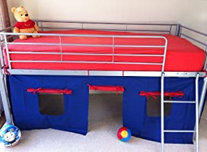 Cosy Stars Metal Mid Sleeper Cabin Bunk Bed With Fun Playful Tent (blue/red)