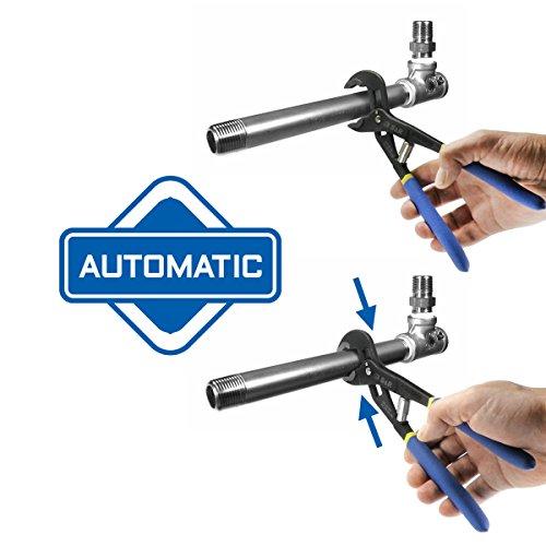S&R Automatische Wasserpumpenzange – patentierter Schnellspannmechanismus, CR-V, doppelt ummantelte Griffe, 240 mm, Rohre bis 35 mm - 5