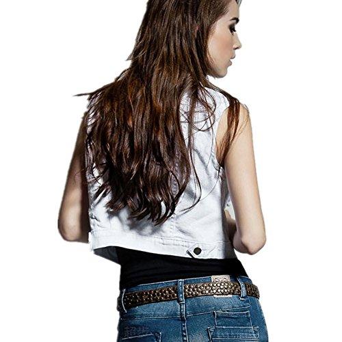 SHISHANG Lady cowboy giubbotto cowboy giubbotto giacca bavero del cardigan breve paragrafo del denim di estate modo della maglia bianco corto White