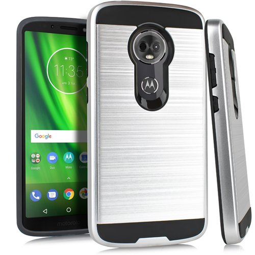 Motorola Moto E4Slim Fit Stilvolle Schutzhülle für Metro Pcs/Boost Mobile/US Cellular/Verizon/Sprint, E5 Plus, Silberfarben Gebürstet Sprint Cellular