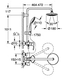 GROHE Euphoria 180 Brause- und Duschsysteme (Duscharm 450mm) 27473000 Vergleich