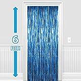 PARTY PROPZ ™ Set of 1 Metallic Blue Foil Curtain Fringe Party Decoration Door Curtains, 3 x 6 Feet