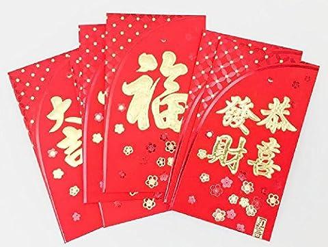 Dmtse 9x16cm Lot de 50Rouge chinois Lucky Lai voir l'argent enveloppe paquets