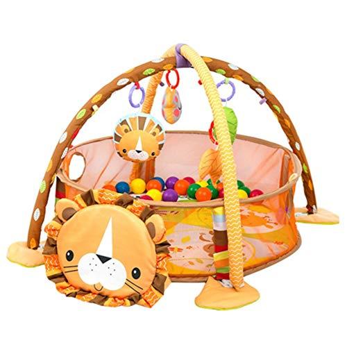 Palestrina Tappetino per Neonato, Tappetino per il Gioco Copertina per Gattonare Palestrina Educativa per Bambini di Attività del Tappeto Strisciante con Safety Guard Mesh Colorful Balls Toy (Lion)