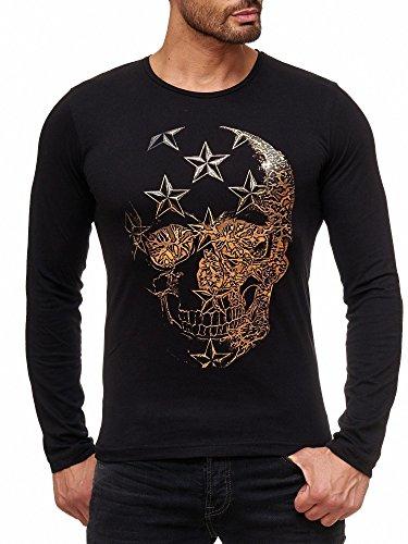 Skull Long Sleeve Tee (Red Bridge Herren Langarmshirt Pullover Skull Stars Design Longsleeve RBC M2126 Shirt (Farbe: Schwarz, Größe: L))