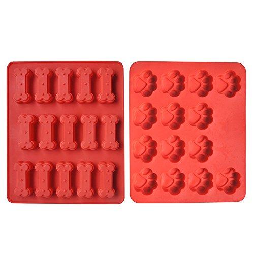 Gosear 2 Stk Hund Pfoten Knochen Silikon Handwerk DIY-Schimmel Cookies backen Keks Schokolade Formwerkzeug