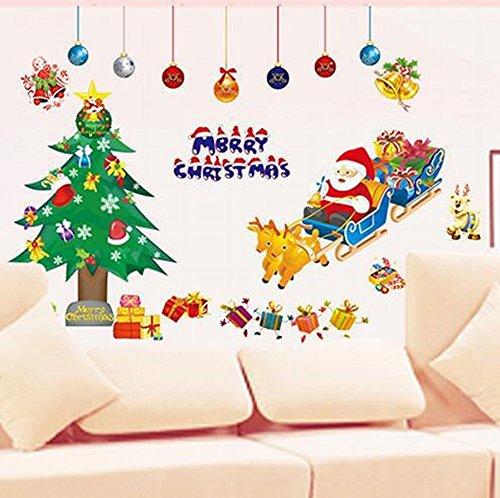 Weihnachten Neujahr Cartoon Alte Baum Glastür Fenster Aufkleber Schneeflocke Verziert Pvc (Klebrig Zubehör Weihnachten)