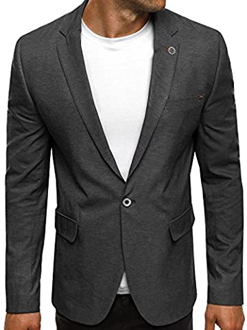 OZONEE Herren Sportsakko Sportliche Sakko Jackett Slim Fit Blazer Anzugjacke Business Anzug Kurzmantel BLACK ROCK 02 XL