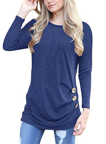 Lylafairy Vogue Baumwolle Shirt, Damen Langarm Oberteile Herbst Sweatshirt Rundhals Elegant Casual T-Shirt Tops mit Zierknöpfe (03, 36)