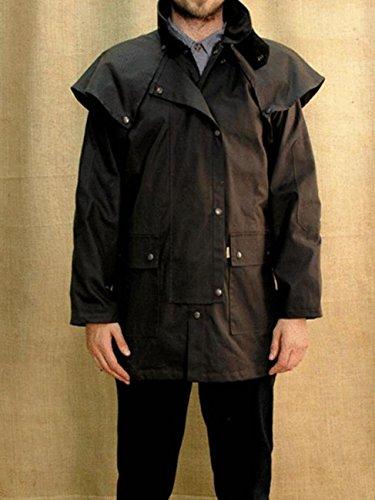 Wachsjacke, klassische Drover Herren Jacke in schwarz und braun, wasserabweisend und atmungsaktiv, echte Outback-er Jacke Schwarz