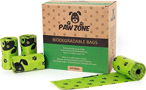 Paw Zone, 240 sacchetti biodegradabili per escrementi di cani, larghi, resistenti e a prova di perdite,16rotoli