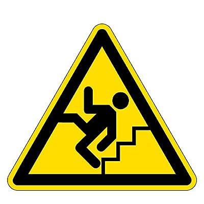 Warnzeichen - Warnung vor Treppen - Kunststoff Selbstklebend