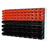 90 tlg Wandregal Steckregal InBox Gr.2, 3 orange schwarz Werkstatt Lagerregal