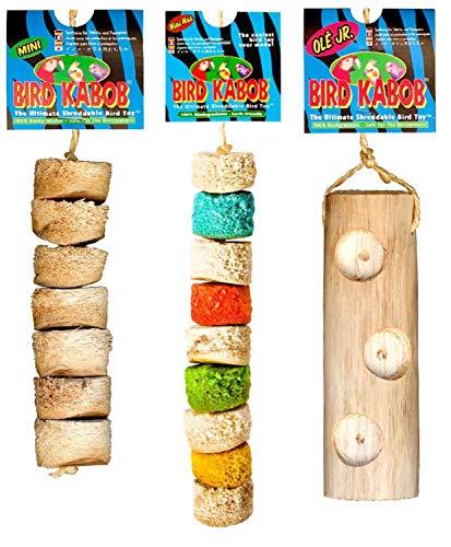 PETGARD 3er Mixpack-5 Vogelspielzeug Bird Kabob ideal für Sittiche und kleine Papageien