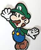 Luigi Patch Embroidered Iron on Badge Aufnäher Kostüm Cosplay Mario Kart/SNES/Mario World/Super...