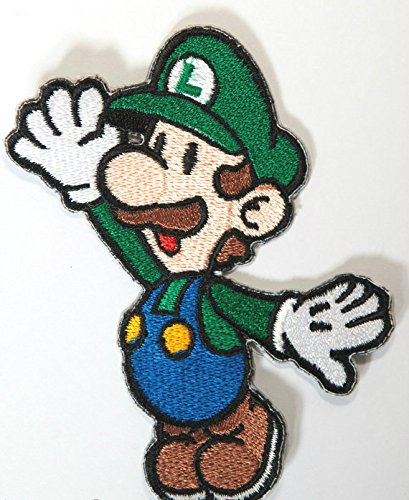 Luigi Patch Embroidered Iron on Badge Aufnäher Kostüm Cosplay Mario Kart/SNES/Mario World/Super Mario Brothers/Mario Allstars (Mario Brothers Goomba Kostüm)