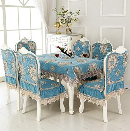 Fgjhdyjhgvk cvb ciniglia la tovaglia e i coprisedie cuscino per sedia da pranzo copertura della sedia decorazione merletti in pizzo lavabile antimacchia rettangolare 130 * 180cm/51 * 71inch,blue