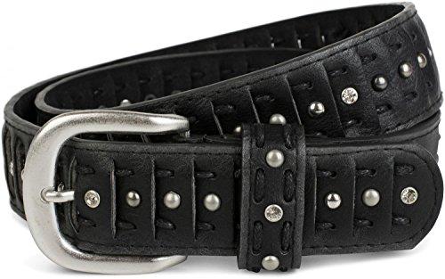 styleBREAKER geschlitzter Nietengürtel im Cut Style mit Nieten, Strasssteine und Schnürung, Vintage Gürtel, kürzbar, Damen 03010079, Farbe:Schwarz;Größe:85cm -