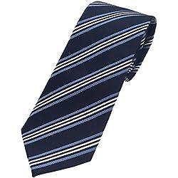 Pietro Baldini - Corbata a rayas azul y gris, hecha a mano, 100% seda