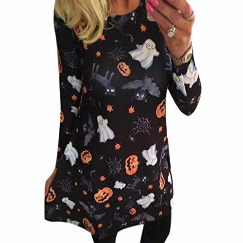 Sie Kostüm Frau (QIYUN.Z Frau Halloween-Abendkleid Horror Kürbis Lange Hülse Crewneck Kostüm (XL,)