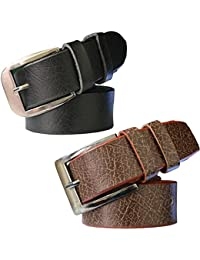 Sunshopping men's Synthetic leather Black and Brown needle pin point buckle belts combo (TEREO)