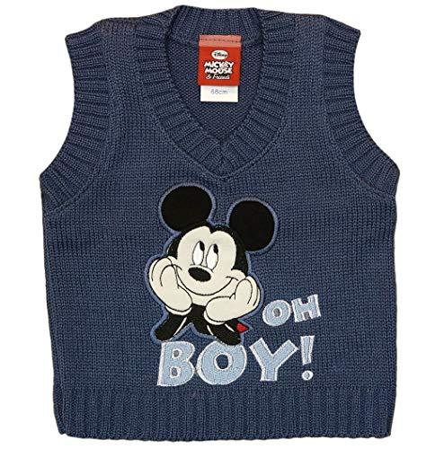 Disney Mickey Mouse Strick-Weste für Baby Jungen in Größe 68 74 80 86 92 98 104 110 Blau Pullunder festliches Outfit für Geburtstag oder Party Größe 110